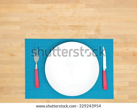 A close up photo of a table place mat setting