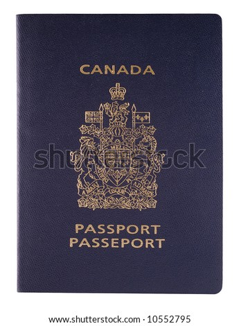 A close-up picture of a Canadian passport isolated on white background