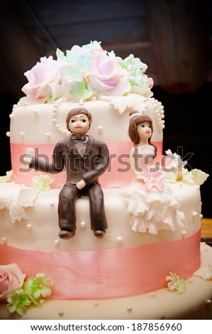 A close up picture of a wedding cake topper