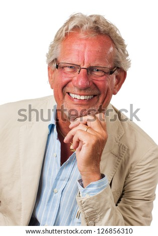 A close-up portrait of a friendly business man looking at camera. Isolated on white.
