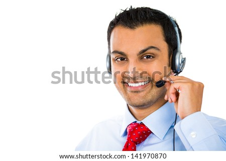 A close-up portrait of a male customer service operator wearing a headset isolated on white background - stock photo