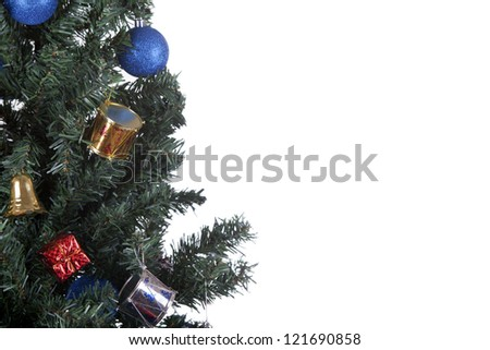 a close up shoot of christmas toys on a tree white background