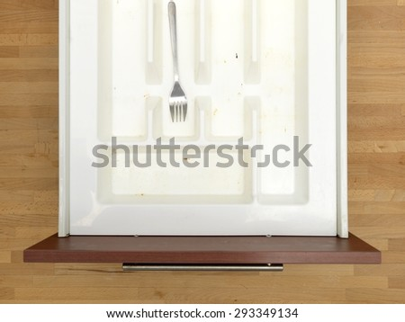 A close up shot a cutlery draw