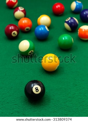 A close up shot billiard balls