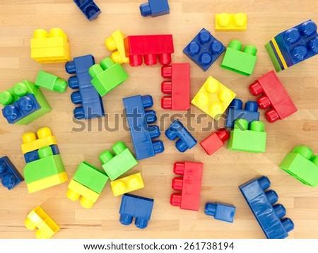 A close up shot giant building blocks - stock photo