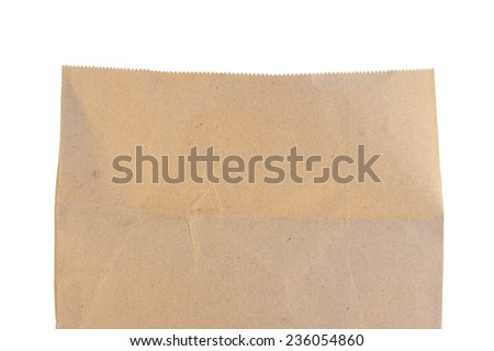 A close up shot of a brown paper bag - stock photo