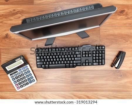 A close up shot of a business desktop - stock photo