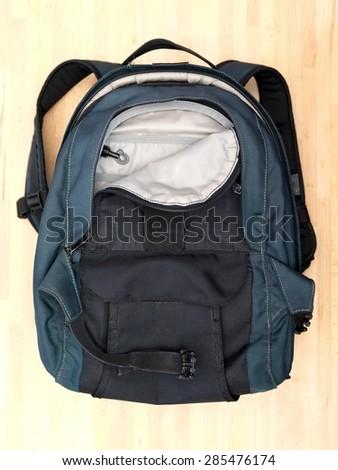 A close up shot of a camera bag - stock photo