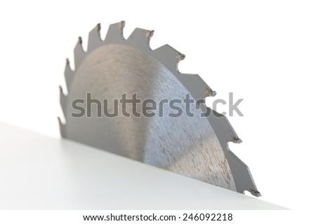 A close up shot of a circular saw blade - stock photo
