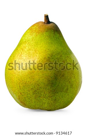 A close up shot of a comice pear on white background