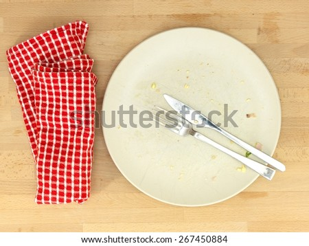 A close up shot of a dinner plate - stock photo