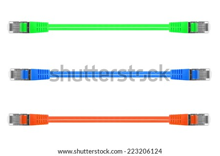 A close up shot of a ethernet cable - stock photo