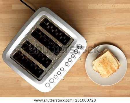 A close up shot of a kitchen toaster - stock photo