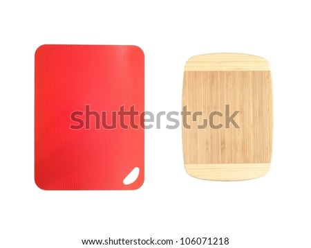 A close up shot of a plastic chopping board - stock photo