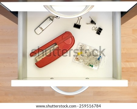 A close up shot of a set of office drawers - stock photo