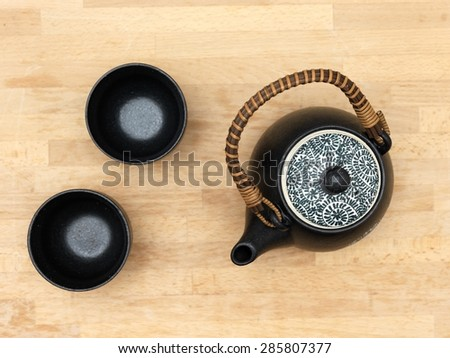 A close up shot of a tea set