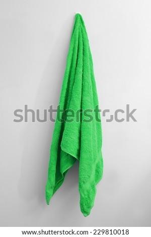 A close up shot of a towel hanging - stock photo