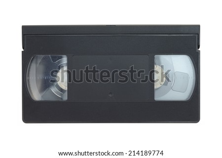 A close up shot of a video cassette - stock photo