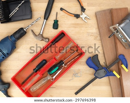 A close up shot of a workshop clamp - stock photo