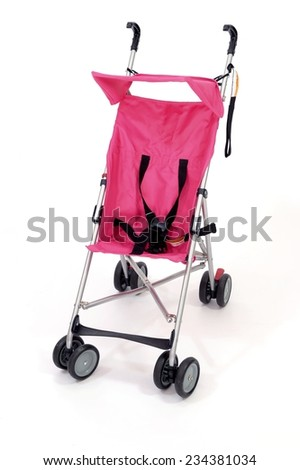 A close up shot of an infant stroller - stock photo