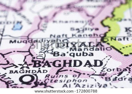 a close up shot of Baghdad, capital of Iraq. - stock photo