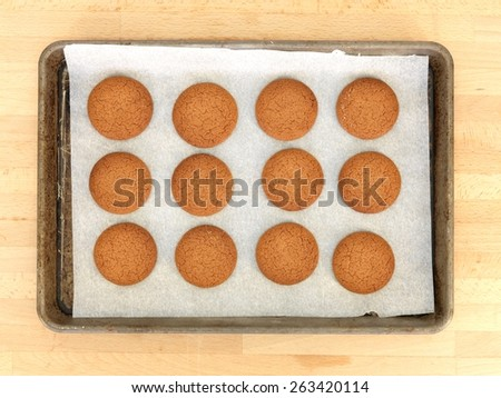A close up shot of baked biscuits - stock photo