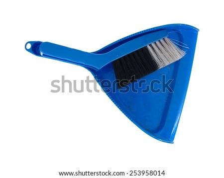 A close up shot of blue dustpan - stock photo