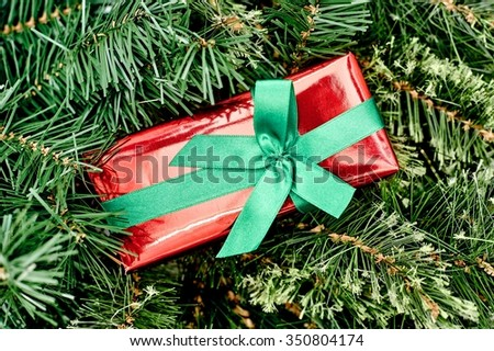 A close up shot of christmas presents - stock photo