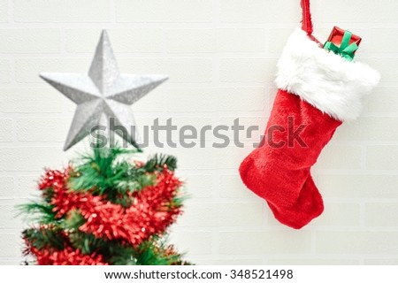 A close up shot of christmas stocking