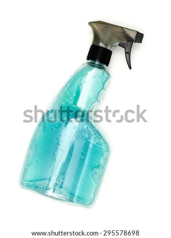 A close up shot of cleaning products - stock photo