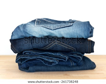 A close up shot of denim jeans - stock photo