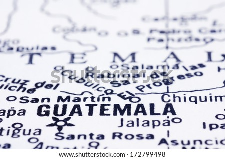 a close up shot of Guatemala city on map, Guatemala, central america. - stock photo
