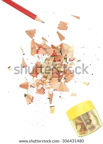 A close up shot of pencil shavings - stock photo