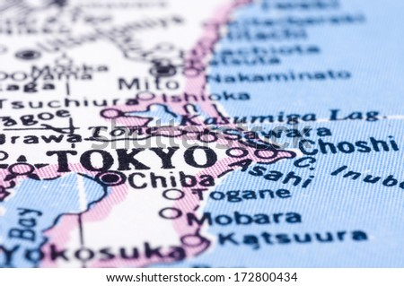 a close up shot of tokyo on map, capital of japan - stock photo