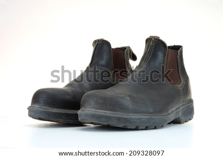 A close up shot of work boots