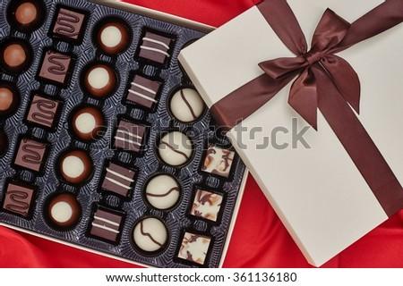 A close up studio photo of box chocolates - stock photo