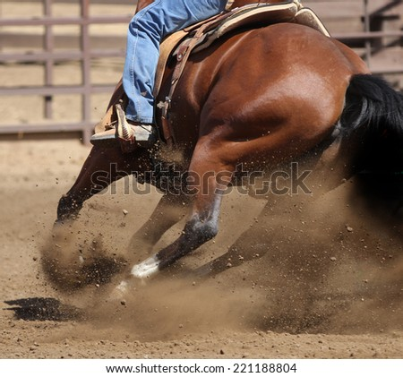 A close up view of a horse kicking up dirt in a competition race. - stock photo
