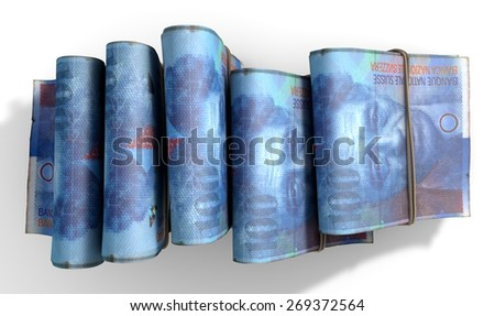 A close-up view of five wads of folded over stacks of norwegian kroner banknotes each bound informally by a rubber band set out in a domino formation on an isolated white studio background - stock photo