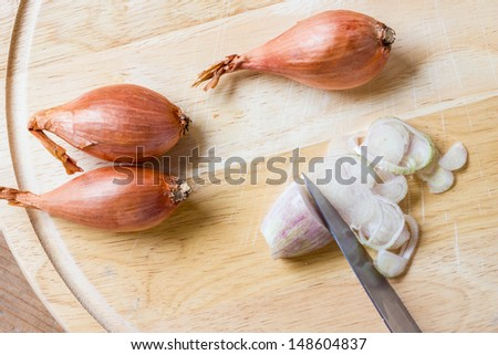 A close-up view of shallot