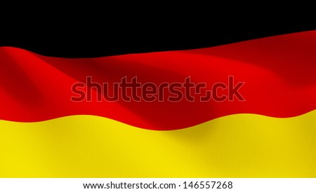 A close up view of the flag of Germany with the fabric texture visible at 100%.