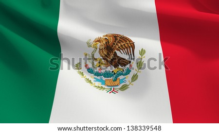 A close up view of the flag of Mexico. Fabric texture visible at 100%.