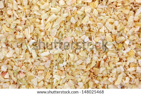 A close view of prepared minced onion spice. - stock photo