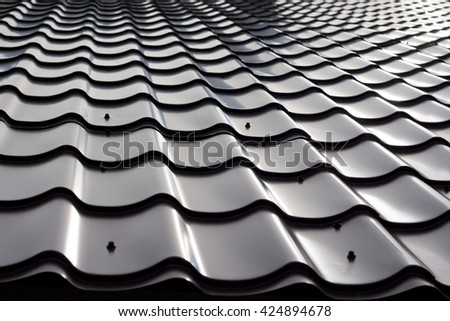 A close view of steel roof tiles for background