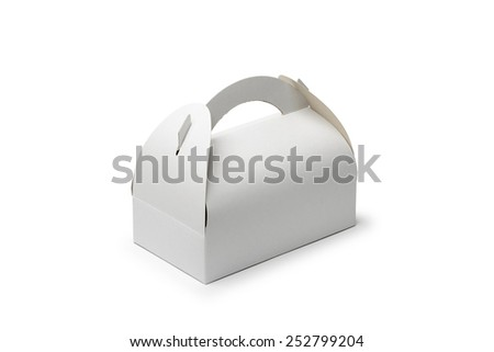 A closed cardboard pastry box isolated on white background. The box can be used to transport cakes and cookies. - stock photo