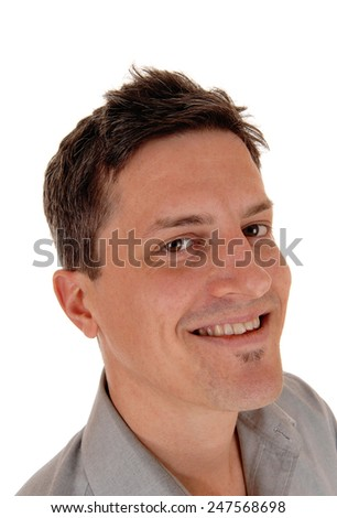 A closeup head shoot of a happy smiling young man, isolated for white background.  - stock photo