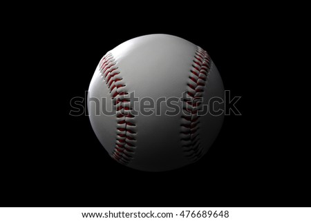 A closeup image of a  baseball on black background