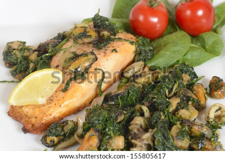 A closeup image of a dinner plate with with grilled salmon with seafood and spinach. Image taken on white background with garnish of fresh vegetables.
