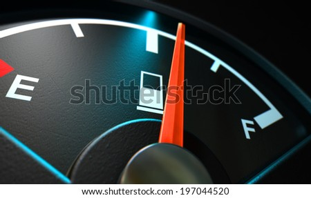A closeup of a backlit illuminated gas gage with the needle indicating a half full tank on an isolated dark background - stock photo