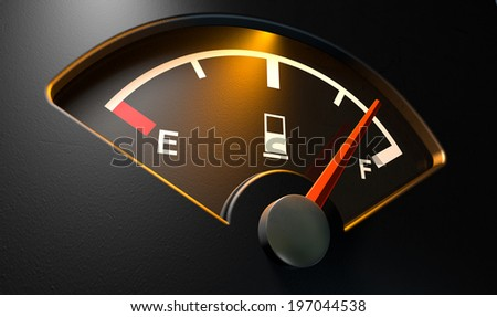 A closeup of a backlit illuminated gas gage with the needle indicating a near full tank on an isolated dark background - stock photo