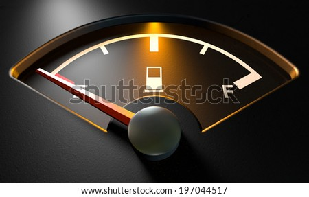 A closeup of a backlit illuminated gas gage with the needle indicating an empty tank on an isolated dark background